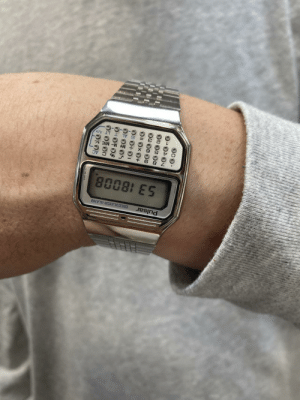 Got my boyfriend this vintage pulsar calculator watch for christmas. Waiting in line at Best Buy and he says he has something to show me.: Pulsar  CALCULATOR-ALARM  53 18008  % C AC  M+ M- MRC  LT A/P  000.  OII OxO+ Got my boyfriend this vintage pulsar calculator watch for christmas. Waiting in line at Best Buy and he says he has something to show me.