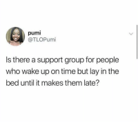 Asking for a friend.: pumi  @TLOPumi  Is there a support group for people  who wake up on time but lay in the  bed until it makes them late? Asking for a friend.