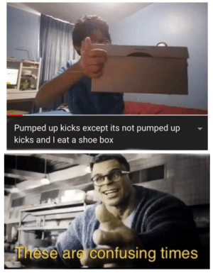 2019 everybody: Pumped up kicks except its not pumped up  kicks and I eat a shoe box  These are confusing times 2019 everybody