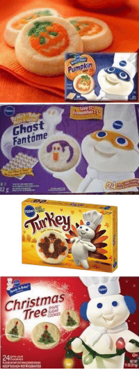 Christmas, Funny, and Ghost: Pumpkin   Ghost  Fantome   Pilsbury  READY  Turke   Christmas  SHAPE  OOKIES  248oksu  KEEPDOUGH REFRIGERATED  Oo  0211 it's the most wonderful time of the year https://t.co/yE31nNAaPs