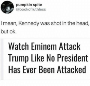 Okay than: pumpkin spite  @bookofruthless  I mean, Kennedy was shot in the head,  but ok.  Watch Eminem Attack  Trump Like No President  Has Ever Been Attacked Okay than