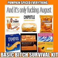 Pumpkin Spiced Basic Bitches: PUMPKINSPICEDEVERYTHING  CHIPOTLE  PUMPKIN SPICEBURRITO  Doritos  Trident  LAYERS  PUMPKIN  SPICE  MAPIECES  FREE GUM  ARTIACALYAAVORED  Massengill  CURESTHE INFECTION  RELIEVESTHE SYMPTOMS  Pumpkin  TAMPW  DOUCHE  Spice  CHR  CUR  original prescription strength  7 DAY TREATMENT CREAM  MONISTAT7  Product  With Natural Ingredients  33% More  Matches the pH Range  Micona20e Mitate VaginalCrearm 20andMioonanoe Nitrate Cream(R)  of Healthy Women  VAGINAL ANTIFUNGAL  CURES MOST VAGINAL YEAST INFECTIONS  and relieves associated external itching and  tion  Extra Cleansing  COMBINATION PACI  Pumpkin & Spice  applicator 0.32 az, 9g) tube  Disposable Douches  6 FL. OZ. (177 mL) Units  BASIC BITCH SURVIVAL KIT Pumpkin Spiced Basic Bitches