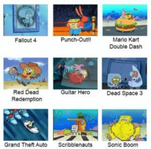 Fallout 4, Mario Kart, and Video Games: Punch-Outll  Mario Kart  Double Dash  Fallout 4  Red Dead  Redemption  Guitar Hero  Dead Space 3  Grand Theft Auto  Scribblenauts  Sonic Boom Awesome video games!