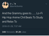 Anime, Beats, and Hip Hop: @punkzbunny  And the Grammy goes to...... Lo-Fi  Hip Hop Anime Chil Beats To Study  and Relax To  2018-01-29, 7:57 AM  34K Retweets 81.2K Likes