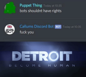 Time to rise up: Puppet Thing Today at 10:35  bots shouldnt have rights  Callums Discord Bot BOT Today at 10:35  CALLUMS  BOT  fuck you  DETROIT  BECOME H UMAN Time to rise up