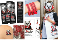 """Af, Candy, and Children: PUPPY MILLS  from o pet ytone  he inteme  unies you con  meet the puppy  TAKE A  AKE A  TAKE  or shener  OF  volunteer af your  PUPPY UPPY  pur MILLS MİLLS  Mil  TAKE  ite  OUT OF  TAKE A  PPYMILLS  Learn more at  leysDream.org  PUF  TAKE A our o  PUPPY MILLS  Harley Halloween is a great opportunity to educate both young and old in a unique way. Don't just hand out candy!  Help spread awareness in a fun, child-friendly way. Take the opportunity to educate children by distributing stickers, bookmarks, rubber bracelets, temporary tattoos and awareness mini-flyers!  Get a cool shirt or hoodie which make great conversation-starters!  Orders are shipping daily!  Click here to see our """"Take a BITE out of Puppy Mills"""" collection: https://harleys-dream.myshopify.com/collections/take-a-bite-out-of-puppy-mills"""
