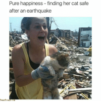 Earthquake, Happiness, and Her: Pure happiness - finding her cat safe  after an earthquake <p>The look of pure happiness ❤</p>