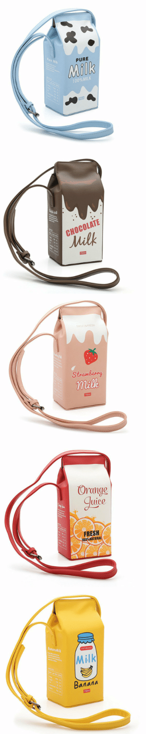 Cute, Fresh, and School: Pure Milk  PURE  Milk  100%MILK  750ml   CHOCOLATE  Milk  750m   WEET&FRESH  Stramberry  milk  750m   Orange  guice  ant  FRESH  100%NATURAL   BananaMilk  100%Bonana  Milk  riteng  Baлала  750m permanentfilemugglethings:  Creative Cute Milk Box Crossbody Bag 📱 PurseHave you ever imagined carring a milk box for school as a 👶? I did. This time this cute crossbody bag will help you  fulfill your dream.This adorable crossbody bag does not just take the shape of a milk box, it exactly looks like a real one! You could even find ingredient list on the side face of the bag. All together five colors are available with different cute patterns like 🍓 and oranges.Feels like the summer is coming! Can't wait to get one for this season?  (●˙▽˙●)❥Shop here for your teenage 💛 !More hot sale bags HERE20% OFF Limited time coupon code : July20