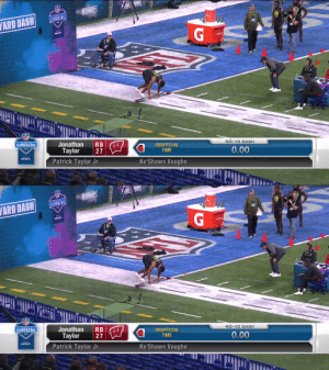Pure speed from Jonathan Taylor 🔥  4.41u 40-yard dash for the @BadgerFootball RB. @JayT23  📺: #NFLCombine on @NFLNetwork 📱: https://t.co/vDFxxNddNZ https://t.co/O1NiTw7ybf: Pure speed from Jonathan Taylor 🔥  4.41u 40-yard dash for the @BadgerFootball RB. @JayT23  📺: #NFLCombine on @NFLNetwork 📱: https://t.co/vDFxxNddNZ https://t.co/O1NiTw7ybf
