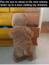 This is too cute i cant-: Put my son to sleep in his new onesie,  woke up to a bear raiding my drawers This is too cute i cant-
