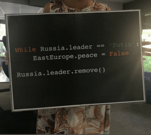 I hate these unsuccessful attempts of using code: Putin  While Russia.leader  False  EastEurope.peace  Russia.leader.remove ( ) I hate these unsuccessful attempts of using code