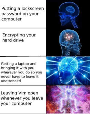 Best, Computer, and Drive: Putting a lockscreen  password on your  computer  Encrypting your  hard drive  Getting a laptop and  bringing it with you  wherever you go so you  never have to leave it  unattended  Leaving Vim open  whenever you leave  your computer Best security ever