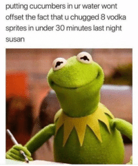 sprites: putting cucumbers in ur water wont  offset the fact that u chugged 8 vodka  sprites in under 30 minutes last night  susan