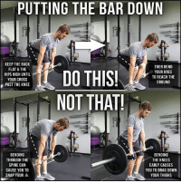 THE PIECE OF THE DEADLIFT EVERYONE FORGETS Most of us are meticulous with our deadlift setup and pull, but we often forget about the second piece of the movement...PUTTING THE BAR BACK DOWN!😳 . I see more people get hurt putting the bar down than picking it up. And it always seems to be something that I need to instruct on. So let's take a look. . The wrong way usually goes one of two ways: . ❌ Curling through the spine. This can put your back in a vulnerable position under heavy load and lead you down the road to snap city. (NOTE: this is not the same as intentionally rounding such as with a Jefferson curl) . ❌ Bending the knees too early. If you bend the knees from the start of the descent, you get the knees in front of the bar and end up dragging the bar down your thighs. And if you've ever pulled with an Ohio Power Bar, you quickly learn that's not the best idea. . So how do we do it right? . ✅ Keep the back flat and hip hinge down. Keep the hips high until the bar is below the knee. Then, once you are below the knee, bend it to reach the ground. . This is an easy implement to make your lifts much more comfortable and boost your longevity.💪 Get on it now and fix your lifts! . Tag a friend who needs to fix their deadlift and share the wealth! . MyodetoxOrlando Myodetox: PUTTING THE BAR DOWN  KEEP THE BACK  FLAT & THE  HIPS HIGH UNTIL  YOUR CROSS  PAST THE KNEE  THEN BEND  YOUR KNEE  TO REACH THE  GROUND  NOT THAT  BENDING  THROUGH THIE  SPINE CAN  CAUSE YOU TO  BENDING  THE KNEES  EARLY CAUSES  YOU TO DRAG DOWN  YOUR THIGHS  SNAP YOUR THE PIECE OF THE DEADLIFT EVERYONE FORGETS Most of us are meticulous with our deadlift setup and pull, but we often forget about the second piece of the movement...PUTTING THE BAR BACK DOWN!😳 . I see more people get hurt putting the bar down than picking it up. And it always seems to be something that I need to instruct on. So let's take a look. . The wrong way usually goes one of two ways: . ❌ Curling through the spine. This can put your back in a vulnerable position under heavy load and lead you down the road to snap city. (NOTE: this is not the same as intentionally rounding such as with a Jefferson curl) . ❌ Bending the knees too early. If you bend the knees from the start of the descent, you get the knees in front of the bar and end up dragging the bar down your thighs. And if you've ever pulled with an Ohio Power Bar, you quickly learn that's not the best idea. . So how do we do it right? . ✅ Keep the back flat and hip hinge down. Keep the hips high until the bar is below the knee. Then, once you are below the knee, bend it to reach the ground. . This is an easy implement to make your lifts much more comfortable and boost your longevity.💪 Get on it now and fix your lifts! . Tag a friend who needs to fix their deadlift and share the wealth! . MyodetoxOrlando Myodetox