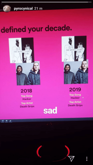 Pyrocynical: a Man of the Melon: pyrocynical 21 m  Hal-LA  defined your decade.  THE MONEY STORE  THE MONEY STORE  2019  2018  Top Song  Top Song  Hacker  Hacker  Top Artist  Death Grips  Top Artist  Death Grips  sad Pyrocynical: a Man of the Melon