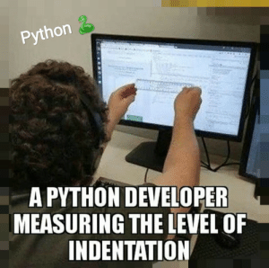 Indentation checking in Python is like:: Python 2  A PYTHON DEVELOPER  MEASURING THE LEVEL OF  INDENTATION Indentation checking in Python is like: