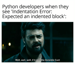 Invisible c*nt: Python developers when they  see 'Indentation Error:  Expected an indented block':  Well, well, well, if it ain't the Invisible Cunt Invisible c*nt