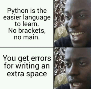 Python Programmer: Python is the  easier language  to learn  No brackets,  no main  You get errors  for writing an  extra space Python Programmer
