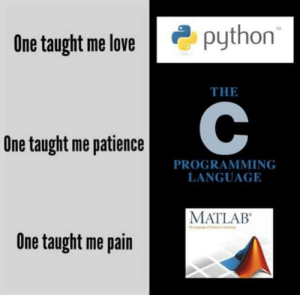 Love, Patience, and Pain: python  TM  One taught me love  THE  One taught me patience  PROGRAMMING  LANGUAGE  MATLAB  One taught me pain Titles are hard
