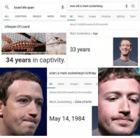 Birthday, Life, and Mark Zuckerberg: Q  lizard life span  how old is mark zuckerberg  ALL SHOPPING MAGES NEWS VIDEC Al News mages Shopping Settns Tools  About 5,160,000 results(0.65 seconds)  Lifespan of Lizard  Mark Zuckerberg /Age  33 years  34 years in captivity.  when is mark zuckerberg's birthday  Images Videoss  About 5,060,000 results (0.60 seconds)  Mark Zuckerberg /Date of birth  May 14,1984 OH