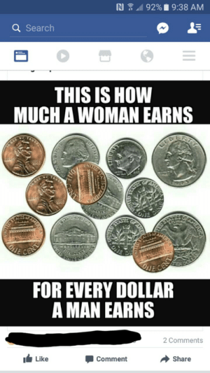 memehumor:  Stumbled upon this as soon as i woke up.: Q Search  THIS IS HOW  MUCH A WOMAN EARNS  FOR EVERY DOLLAR  A MAN EARNS  2 Comments  Like  Comment  → share memehumor:  Stumbled upon this as soon as i woke up.
