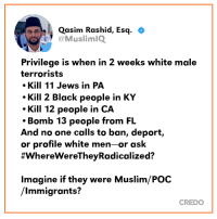 Memes, Muslim, and Black: Qasim Rashid, Esq. +  @MuslimIQ  Privilege is when in 2 weeks white male  terrorists  Kill 11 Jews in PA  Kill 2 Black people in KY  Kill 12 people in CA  Bomb 13 people from FL  And no one calls to ban, deport,  or profile white men-or ask  #wherewereTheyRadicalized?  lmagine if they were Muslim/POC  /Immigrants?  CREDO