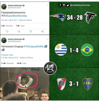 Iphone, Twitter, and Qatar: QAZRORGANIZATION  Antoine Griezmann  @AntoGriezmann  Faaaaaaalcoooooons  34-28  5:47 AM Feb 6, 2017 Twitter for iPhone  2.5K Retweets7.5K Likes  Antoine Griezmanne  @AntoGriezmann  Vamooooo Uruguay !! #UruguayNoMa  Translate Tweet  4:10 AM Mar 24, 2017 Twitter for iPhone  11.8K Retweets  20.9K Likes  ORGAIZATION  CABJ  QATAR. cabroworld (By 👉 @azrorganization )