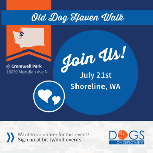 Community, Dogs, and Love: Qld Dog Haven Walk  Join Us!  @ Cromwell Park  18030 Meridian Ave N  July 21st  Shoreline, WA  >>  DGS  Want to volunteer for this event?  Sign up at bit.ly/dod-events  ON DEPLOYMENT #Washington fans! Our long-time volunteer, Ron, is setting up a booth for Old Dog Haven Walk for Old Dogs on July 21st in Shoreline, WA. We would love to have some volunteers join him in helping us raise awareness for our organization through community engagement! Join Ron by signing up at www.bit.ly/dod-events!