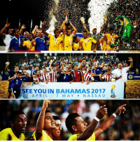 qOL  SEE YOU IN BAHAMAS 2017  27 APRIL  7 MAY  N A S S A U  FIFA  CONM South America's representatives at the FIFABeachSoccer WorldCup are Brasil, Paraguay and Ecuador! Congratulations to Brazil, who won Eliminatorias CONMEBOL last night 🙌