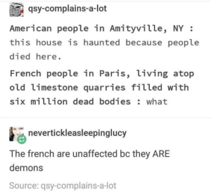 the catacombs are just one big skeleton party: qsy-complains-a-lot  American people in Amityville, NY:  this house is haunted because people  died here  French people in Paris, living atop  old limestone quarries filled with  six million dead bodies: what  nevertickleasleepinglucy  The french are unaffected bc they ARE  demons  Source: qsy-complains-a-lot the catacombs are just one big skeleton party