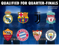 Finals, Football, and Memes: QUALIFIED FOR QUARTER-FINALS  O O TheLADFootball  O The.LAD.Football  OUDE  TUS  TOULL NEVER WALXALONE  LIVERPOOL  FC B  EST 1392  BAYE  CHES  18  94  ROMA  1927N  CHE  CITY Congratulations! 🔥🔥🔥