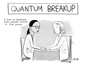 Cartoon, New Yorker, and Rough: QUANTUM BREAKUP  I think we should See  every possible version  of other pe ople Rough Sketch Vs. Finished New Yorker Cartoon
