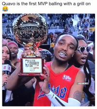 Quavo out here shining! 💎: Quavo is the first MVP balling with a grill on  @NBAMEMES Quavo out here shining! 💎