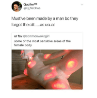Blackpeopletwitter, Been, and Via: QuciferTM  @Q NaShae  Must've been made by a man bc they  forgot the clit. as usual  ur fav @commonwokegirl  some of the most sensitive areas of the  female body <p>Most sensitive areas of the female body (via /r/BlackPeopleTwitter)</p>