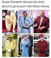 Queen Elizabeth, Steve Harvey, and Queen: Queen Elizabeth dresses like she's  about to go to prom with Steve Harvey