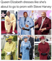 Queen Elizabeth, Steve Harvey, and Queen: Queen Elizabeth dresses like she's  about to go to prom with Steve Harvey  OLLWOoD  OFFAME
