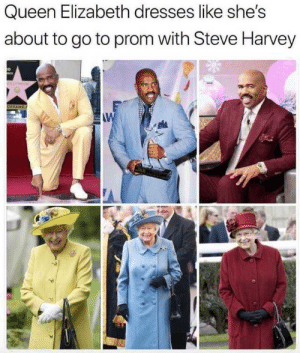 Match made in Windsor: Queen Elizabeth dresses like she's  about to go to prom with Steve Harvey  D  OFFAME  AW Match made in Windsor