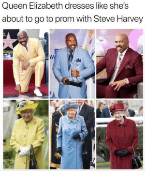 harvey: Queen Elizabeth dresses like she's  about to go to prom with Steve Harvey  OD  OLLYWOOD  OFFAME.  W