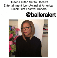 "Chicago, Queen Latifah, and Memes: Queen Latifah Set to Receive  Entertainment Icon Award at American  Black Film Festival Honors  balleralert Queen Latifah Set to Receive Entertainment Icon Award at American Black Film Festival Honors-blogged by @thereal__bee ⠀⠀⠀⠀⠀⠀⠀ ⠀⠀⠀⠀⠀⠀⠀ PageSix reports that rapper and Oscar-nominated actress QueenLatifah will receive the Entertainment Icon award at the upcoming AmericanBlackFilmFestival Honors. ⠀⠀⠀⠀⠀⠀⠀ ⠀⠀⠀⠀⠀⠀⠀ This year's ceremony will be held in LosAngeles on Friday. Currently Latifah is the star of FOX's new show Star. She says she is more than gracious for the award. ⠀⠀⠀⠀⠀⠀⠀ ⠀⠀⠀⠀⠀⠀⠀ ""It means so much to me coming from fellow entertainers and my peers."" ⠀⠀⠀⠀⠀⠀⠀ ⠀⠀⠀⠀⠀⠀⠀ Queen Latifah is well known for her three decade long rap career which led to smash records such as ""U.N.I.T.Y"" and ""Ladies First"". She also is an outstanding actress who was nominated for an Oscar for her role in the hit movie ""Chicago"". ⠀⠀⠀⠀⠀⠀⠀ ⠀⠀⠀⠀⠀⠀⠀ The American Black Film Festival Honors will air on BET and Centric on Feb. 22 at 8 p.m. EST. The event will be hosted by ReginaHall."