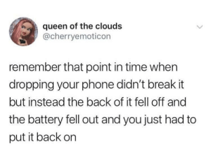 Easily repairable.: queen of the clouds  @cherryemoticon  remember that point in time when  dropping your phone didn't break it  but instead the back of it fell off and  the battery fell out and you just had to  put it back on Easily repairable.