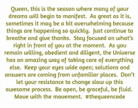 Memes, Queen, and Focus: Queen, this is the season where many of your  dreams will begin to manifest. As great as it is,  sometimes it may be a bit oueruhelming because  things are happening so quickly. Just continue to  breathe and thanks. Stay focused on what's  right in front of you at the moment. As you  remain willing, obedient and diligent, the Uniuerse  has an amazing way of taking care of euerything  else. Keep your eyes wide open; solutions and  answers are coming from unfamiliar places. Don't  let your resistance to change slow up this  awesome process. Be open, be graceful, be fluid.  Moue with the mouement. Yes... #thequeencode