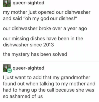 "Memes, Oh My God, and Dish: queer-sighted  my mother just opened our dishwasher  and said ""oh my god our dishes!""  our dishwasher broke over a year ago  our missing dishes have been in the  dishwasher since 2013  the mystery has been solved  queer-sighted  I just want to add that my grandmother  found out when talking to my mother and  had to hang up the call because she was  so ashamed of us this is true I was the dishwasher - Max textpost textposts"