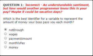 This question in my programming class: QUESTION 1: Incorrect - An understandable sentiment,  but how would another programmer know this is your  pay? Maybe it could be vacation days?  Which is the best identifier for a variable to represent the  amount of money your boss pays you each month?  notEnough  O wages  paymentAmount  monthlyPay  O money This question in my programming class