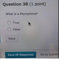 Finals got me like 😣😂: Question 38 (1 point)  What is a Microphone?  True  False  Save  Save All Responses  Go to submit Finals got me like 😣😂