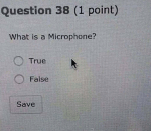 School, True, and What Is: Question 38 (1 point)  What is a Microphone?  True  O False  Save how well school is going