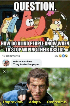 Adapt: QUESTION  HOW DO BLIND PEOPLE KNOWWHEN  TO STOP WIPINGTHEIR ASSES?  13 Comments  35  Gabriel Richème  They taste the paper  X  Improvise. Adapt.  Overcome.  imgfip.com