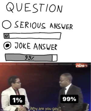 Always choose joke answer: QUESTION  O SERIOUS ANSWER  17  JOKE ANSWER  997  99%  1%  Why are you gay? Always choose joke answer
