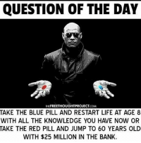 QUESTION OF THE DAY  THEFREETHOUGHTPROJECT COM  TAKE THE BLUE PILL AND RESTART LIFE AT AGE 8  TAKE THE RED PILL AND JUMP TO 60 YEARS OLD  WITH $25 MILLION IN THE BANK. knowledge is the 🔑🔵pill 😂😭💯