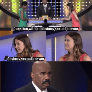Every episode of Family Feud ever: Question with anobvious sexualanswer  Obvious sexualanswer Every episode of Family Feud ever