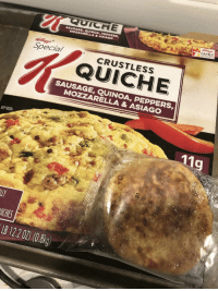 "Family, Frozen, and Quinoa: QUICHE  SAUSAGE,QUINOA, PEPPERS  MOZZARELLA&ASIAGO  FAMILY  REWARDS  Special  CRUSTLESS  QUICHE  SAUSAGE, QUINOA, PEPPERS  MOZZARELLA & ASIAGO  KEEP FROZEN  119  ICHES  B 122 02) (0.8kg) <p>Expectations VS Reality - Not so ""Special"" K</p>"